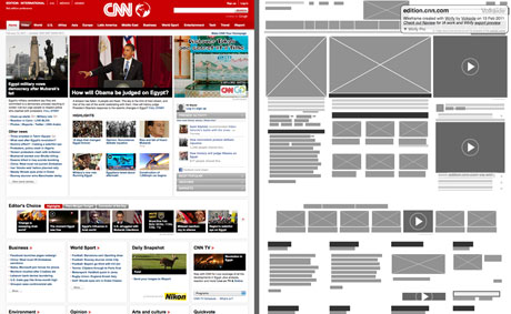 CNN International - Original vs. Wirify wireframe
