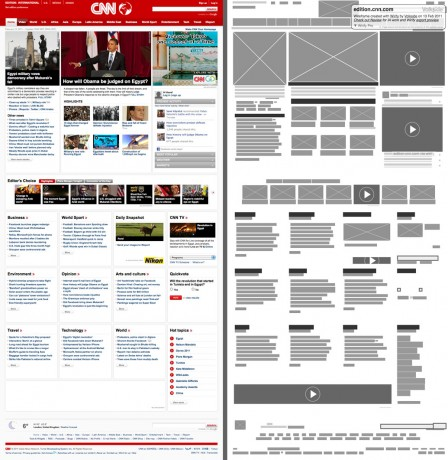 CNN International - Original vs Wirify wireframe