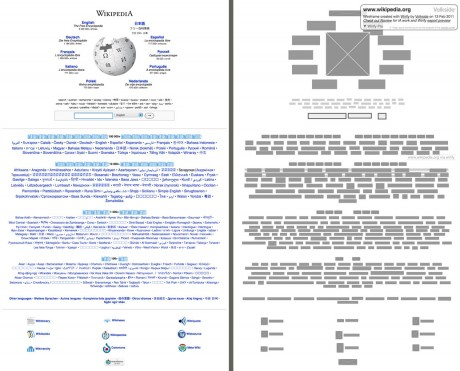 Wikipedia - Original vs Wirify wireframe