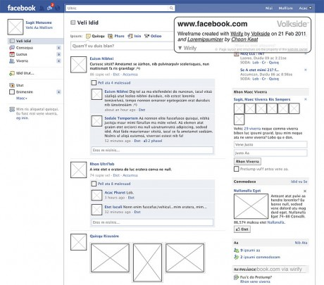 Greeked Wirify wireframe of Facebook