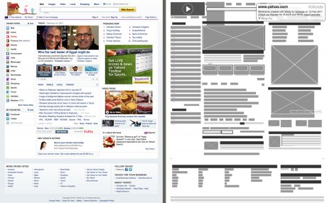 Yahoo - Original vs Wirify wireframe