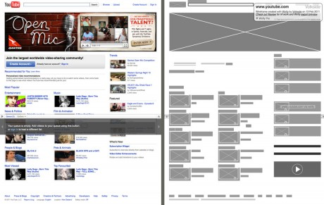 YouTube - Original vs Wirify wireframe