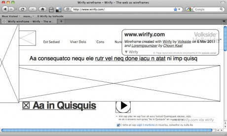 Greeked wireframe - Wirify user guide