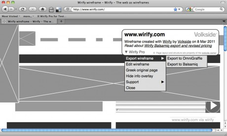 Wirify Pro - Exporting a wireframe - Wirify user guide