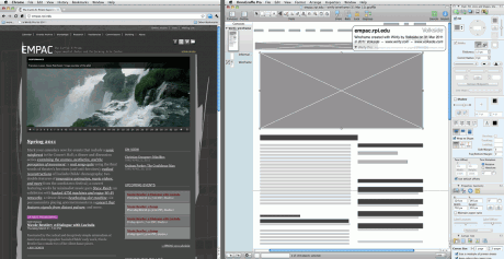 EMPAC website homepage wireframe exported to OmniGraffle using Wirify Pro