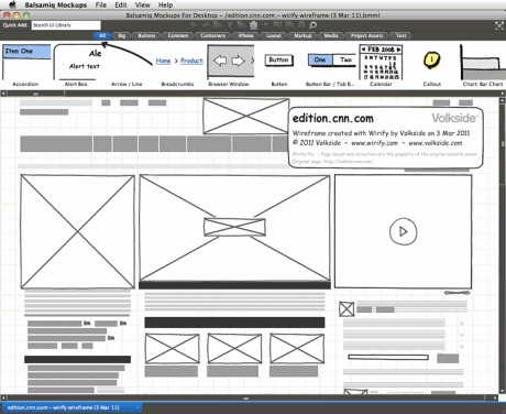 Wirify Pro wireframe exported into Balsamiq - CNN International
