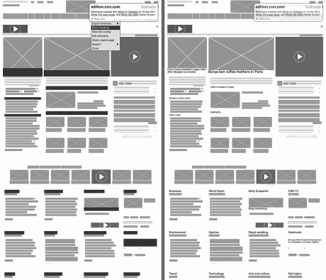 CNN International - Wirify wireframe with headings