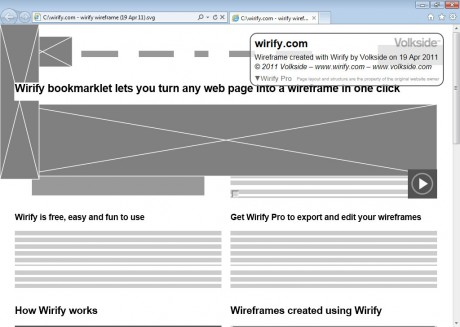 Internet Explorer 9 with wireframe exported as SVG using Wirify Pro