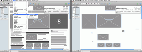 Use OmniGraffle Select Similar Objects to layer wireframes