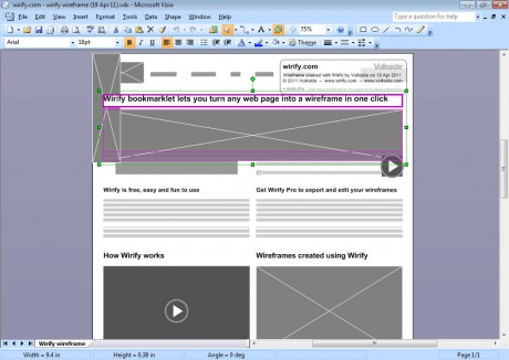 Microsoft Visio with wireframe exported using Wirify Pro